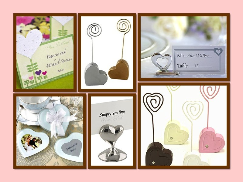 Heart Place Card Holders and Escort Cards, heart themed party decor