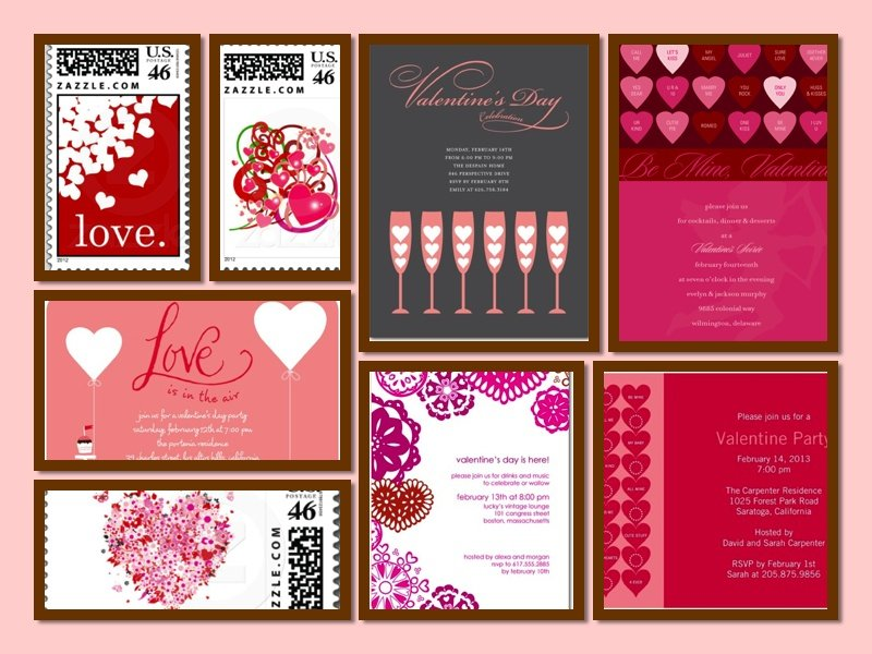 Hearts Invitations Collage, Valentine's Day Heart Theme Party