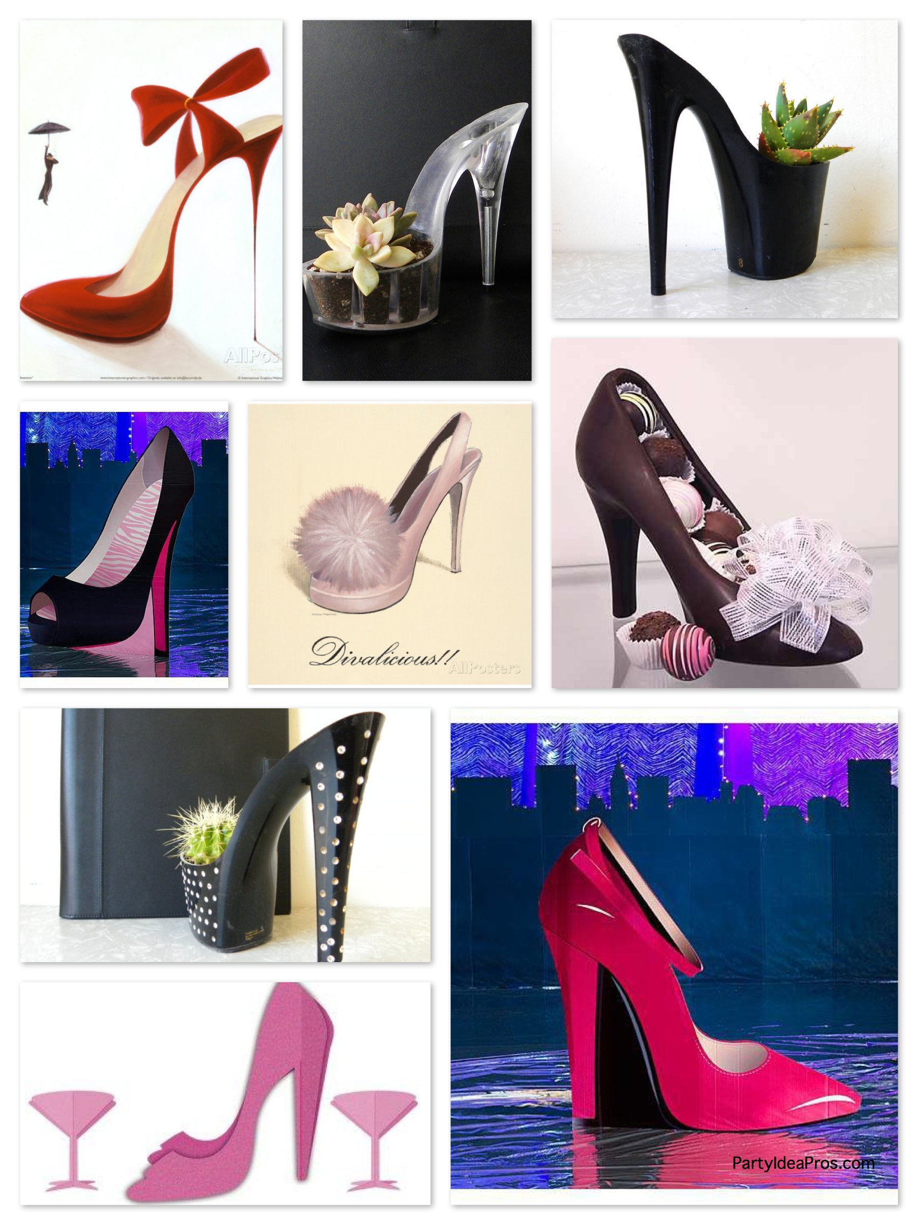 High Heel Shoe Party Decor & Centerpiece Ideas