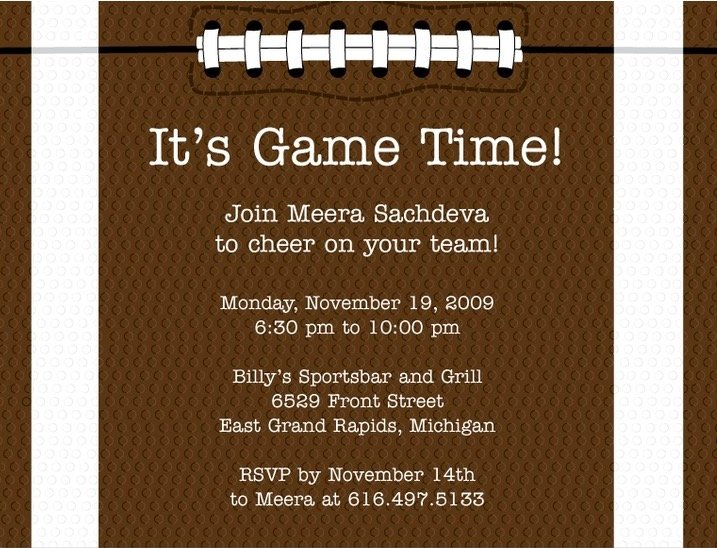 Its Game Time Football Party Invitation
