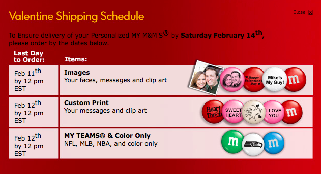 M & M's Romantic Valentine's Day Gifts, MY M&MS VALENTINE SHIPPING SCHEDULE