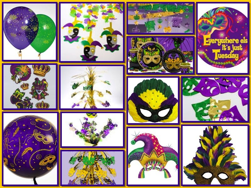 Mardi Gras Decor and Supplies Collage