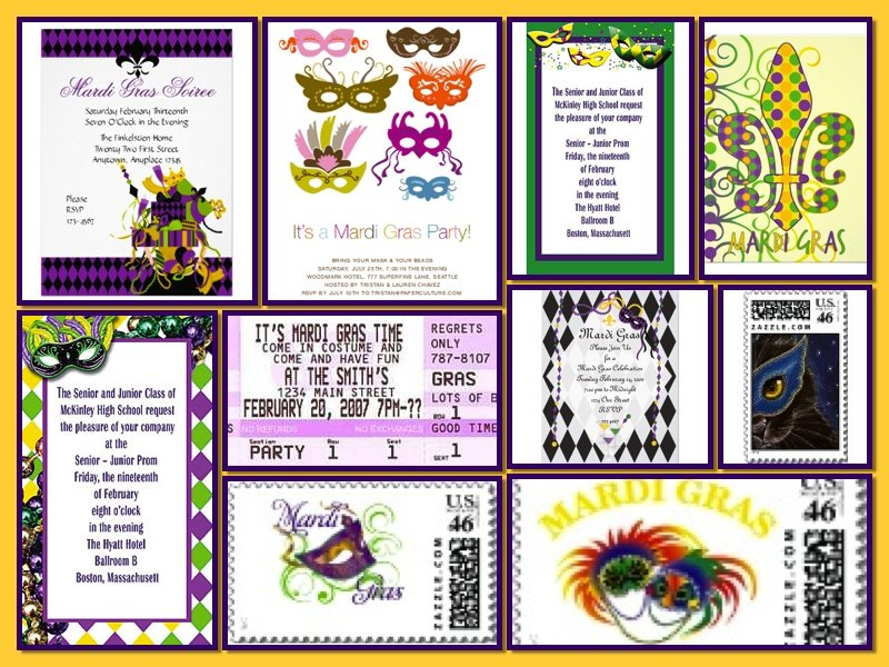 Mardi Gras Invitation Collage