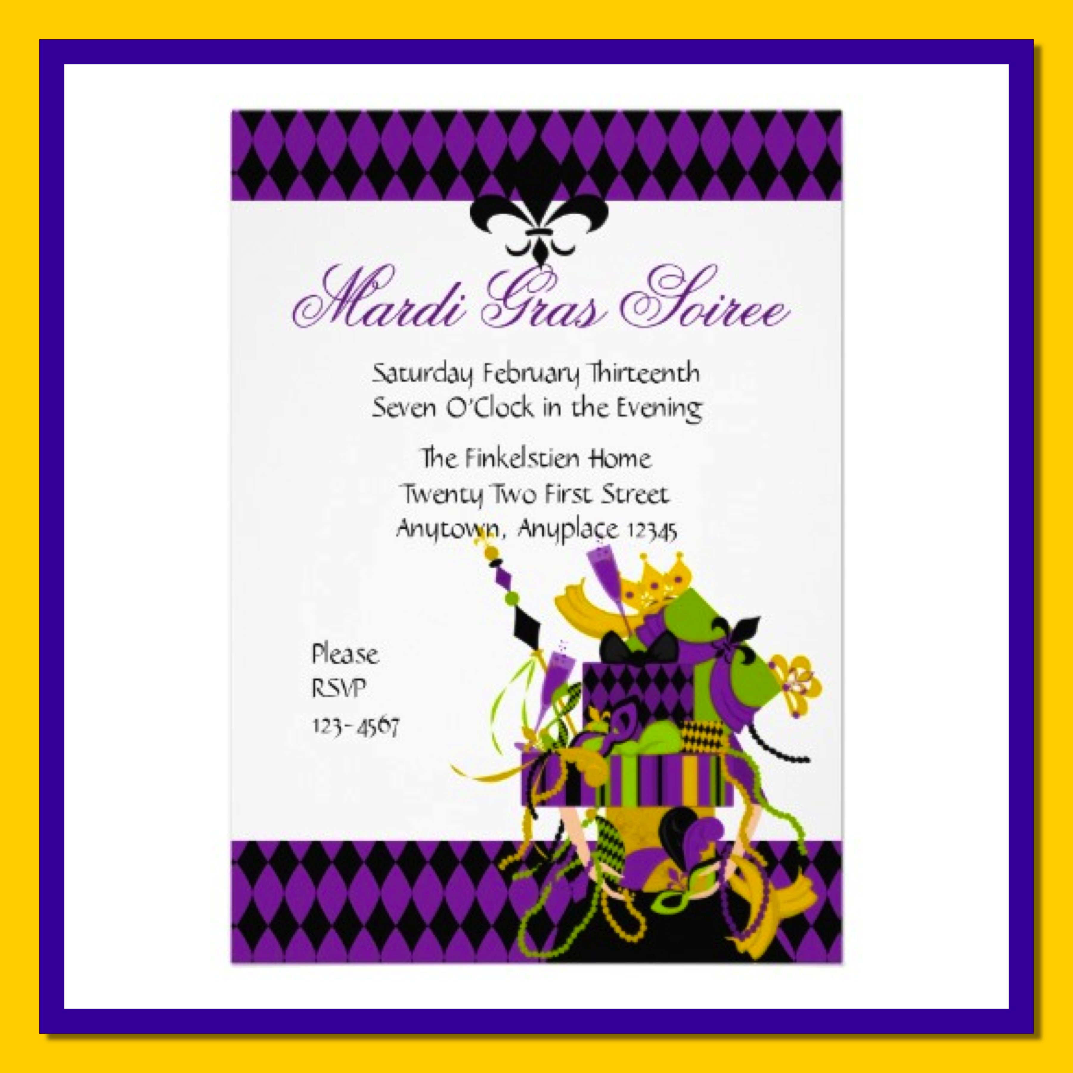 mardi gras wedding invitation wording - 28 images - blue and black ...