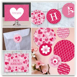 Valentine's Day XOXO Party Kit, Valentines Day Party Kits