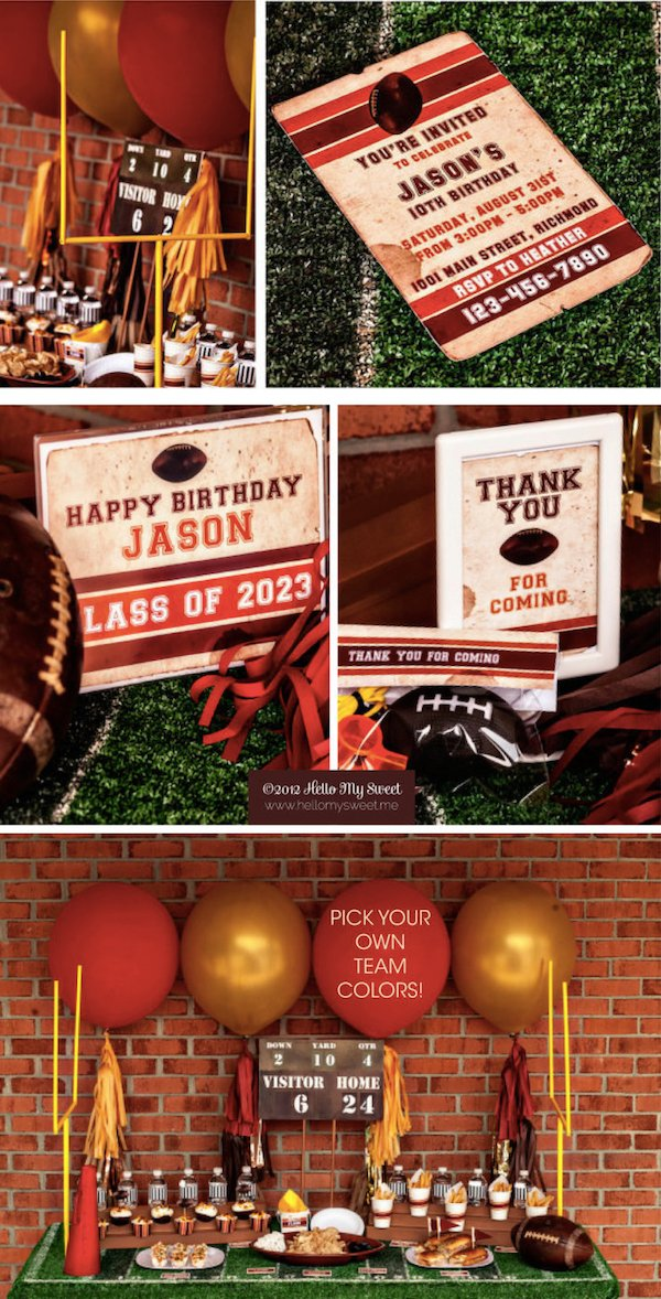 Vintage-Style Football Party Decor