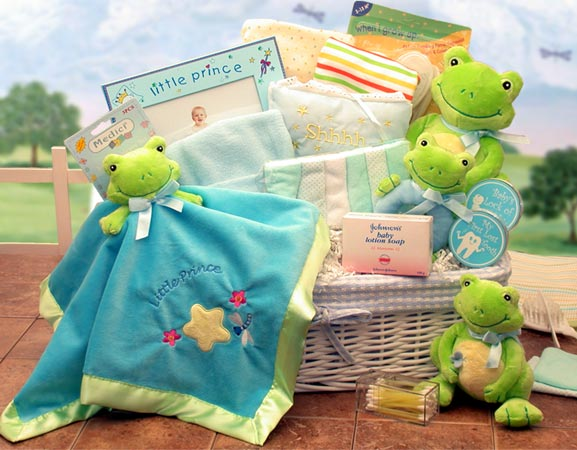 Royal Baby Gift Basket, Royal Baby Shower Gifts, Frog Prince Baby Shower Gifts