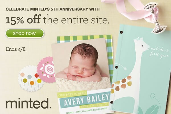 Minted's Anniversary Sale -  15% Off Entire Site