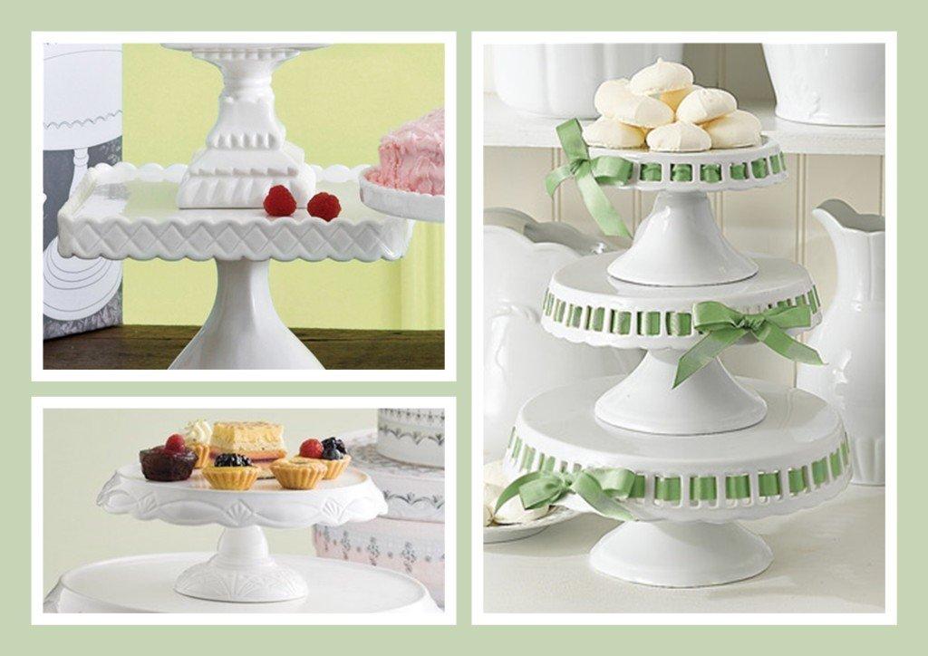 Hostess & Entertaining Wedding Gifts: White Ceramic Cake Plates