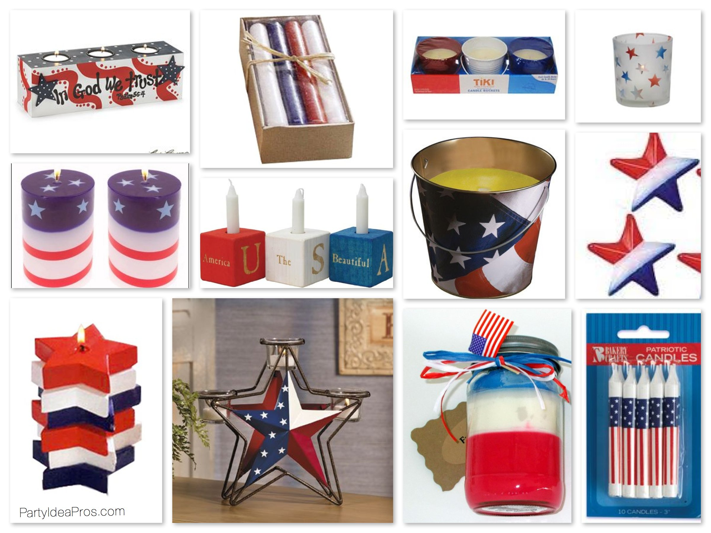 Red White & Blue Patriotic Candles