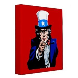 Uncle Sam wants you red, white & blue patriotic binder