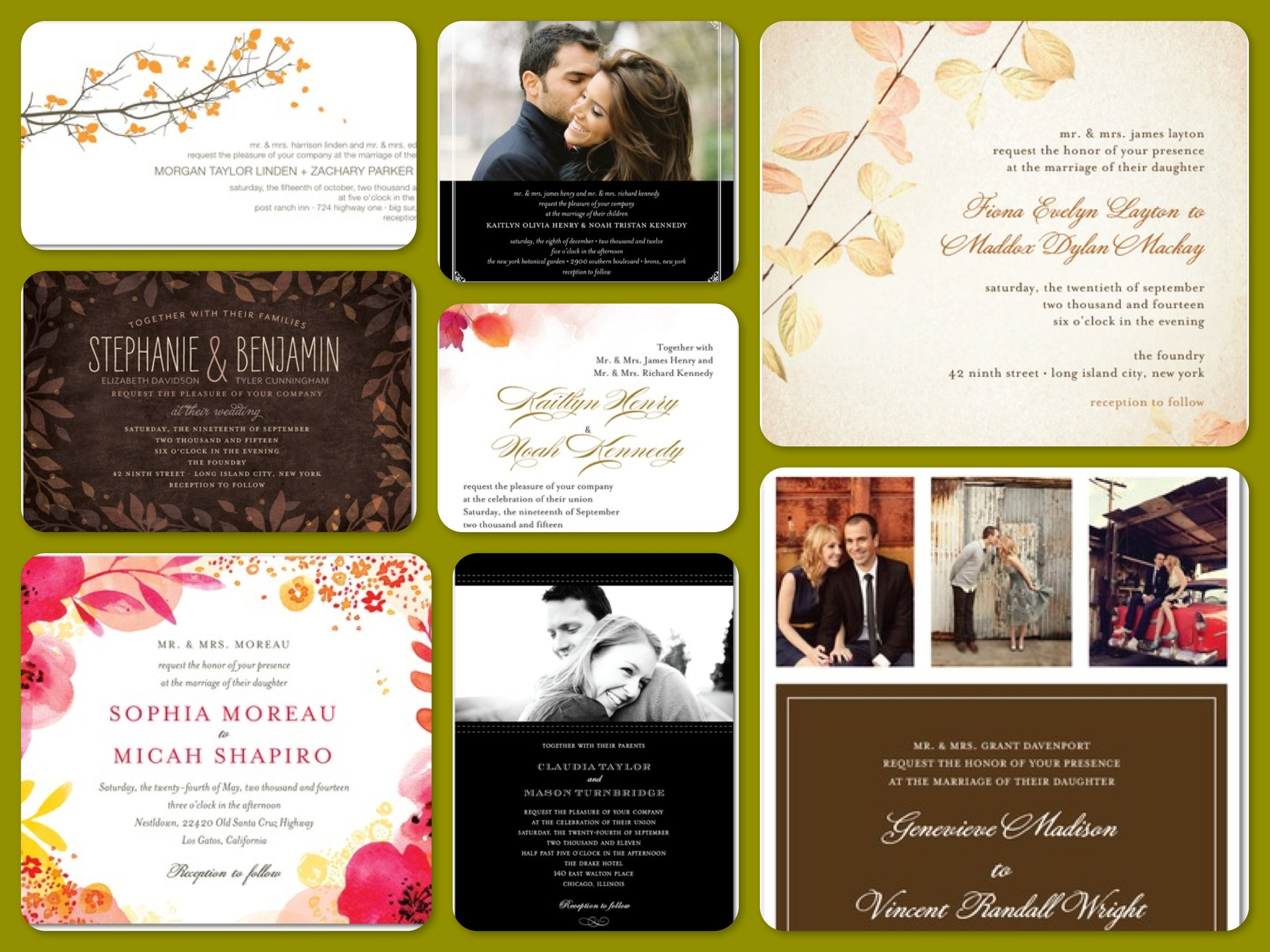 Fall Wedding Save The Dates Invitations Amp Stationery