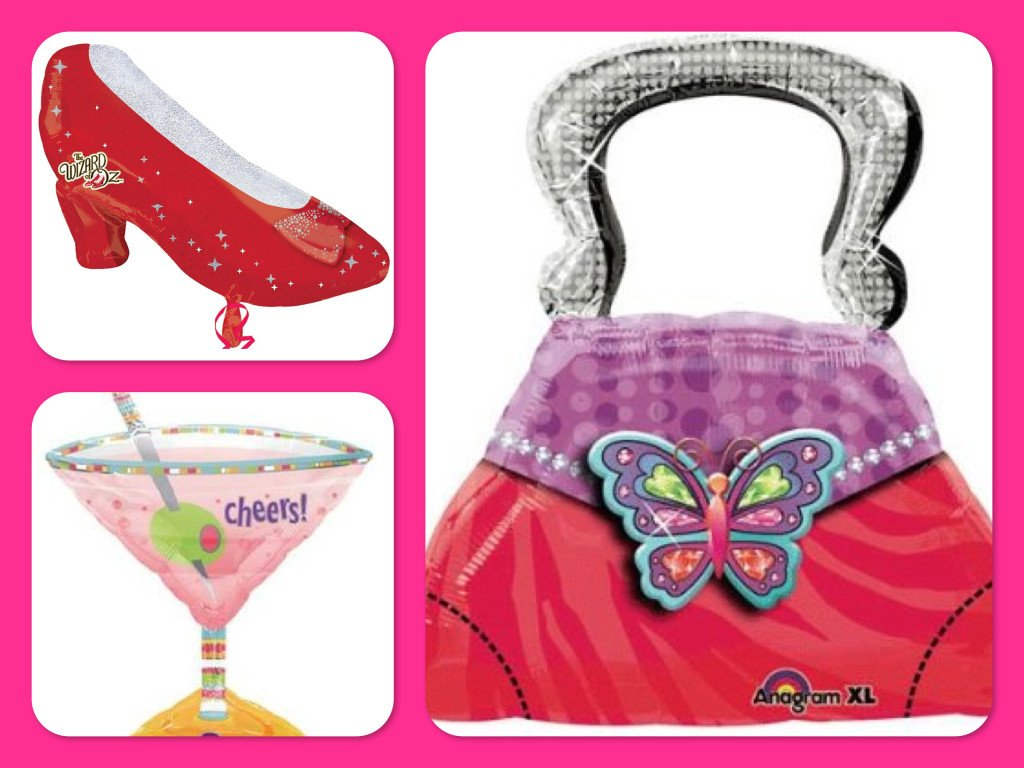 Ladies Night Out Party Ideas - Martini, Shoe & Purse Mylar Balloons