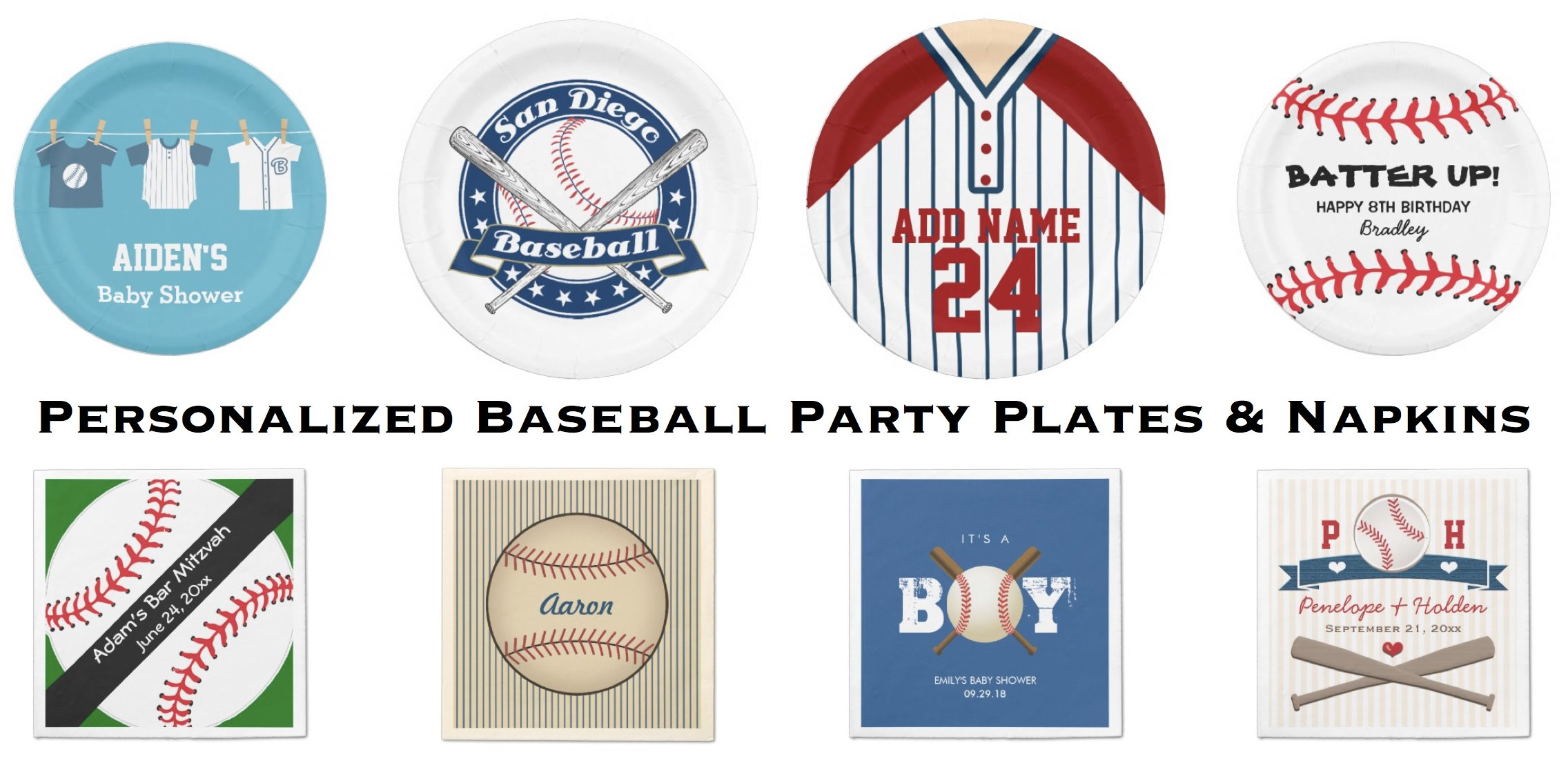 Personalized Baseball Party Plates & Napkins
