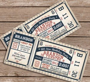 Printable Baseball Theme Party Birthday Invitations