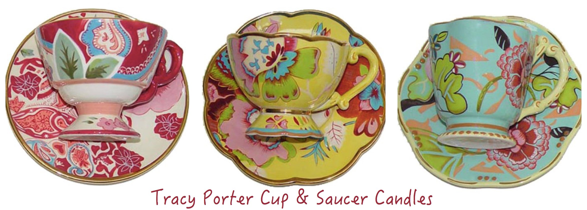 Tracy Porter Cup and Saucer Candles