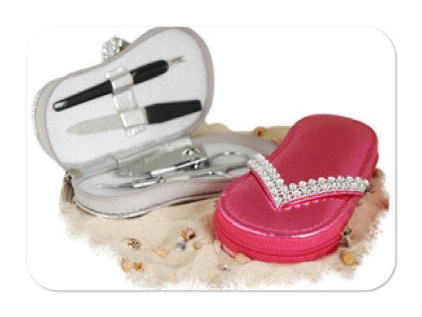 Chic Rhinestone Beach Sandal Manicure Set