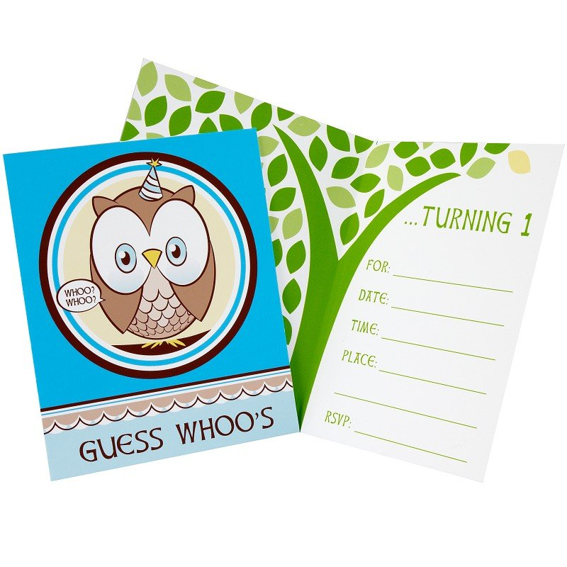 Look Whoos 1 - Blue Invitations