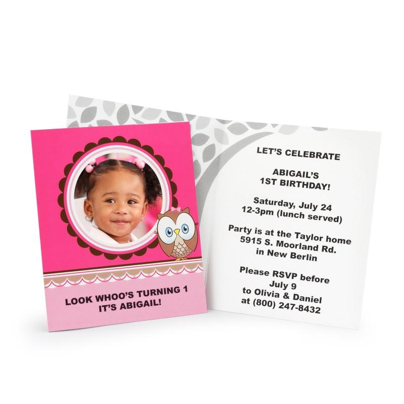 Look Whoos 1 - Pink Personalized Invitations