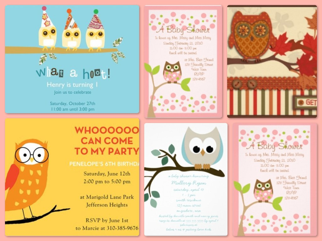 Owl Theme Party Invitations