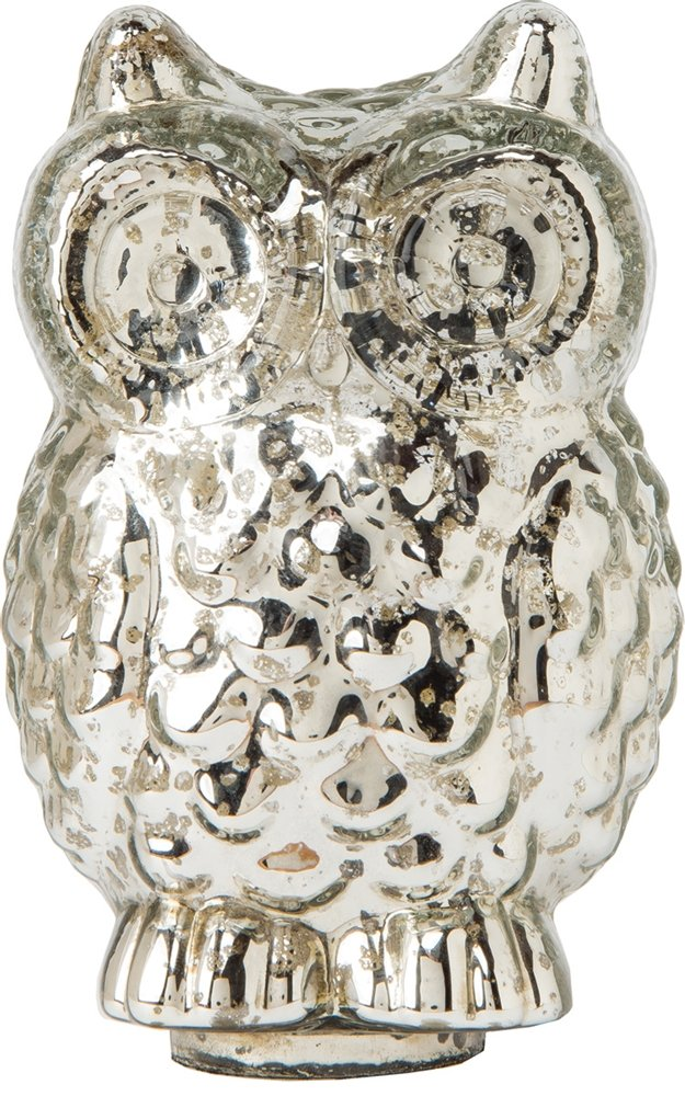 Silver Medium Mercury Glass Tabletop Owl Figurine