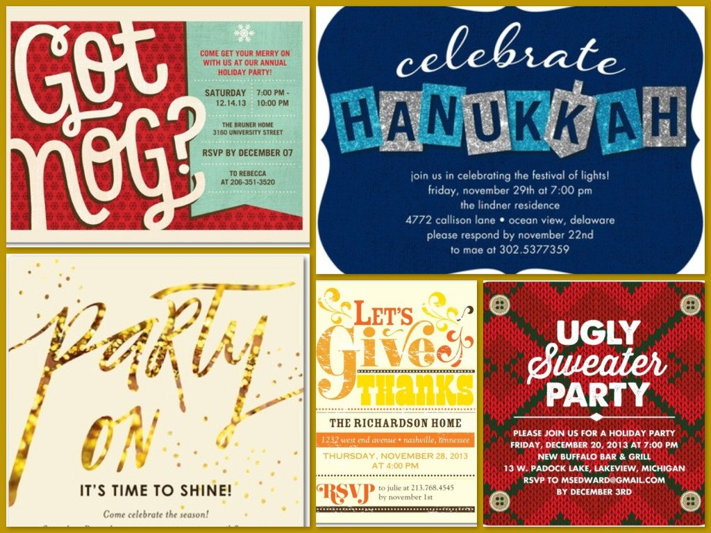 10 FREE Tiny Prints Holiday Party Invitations