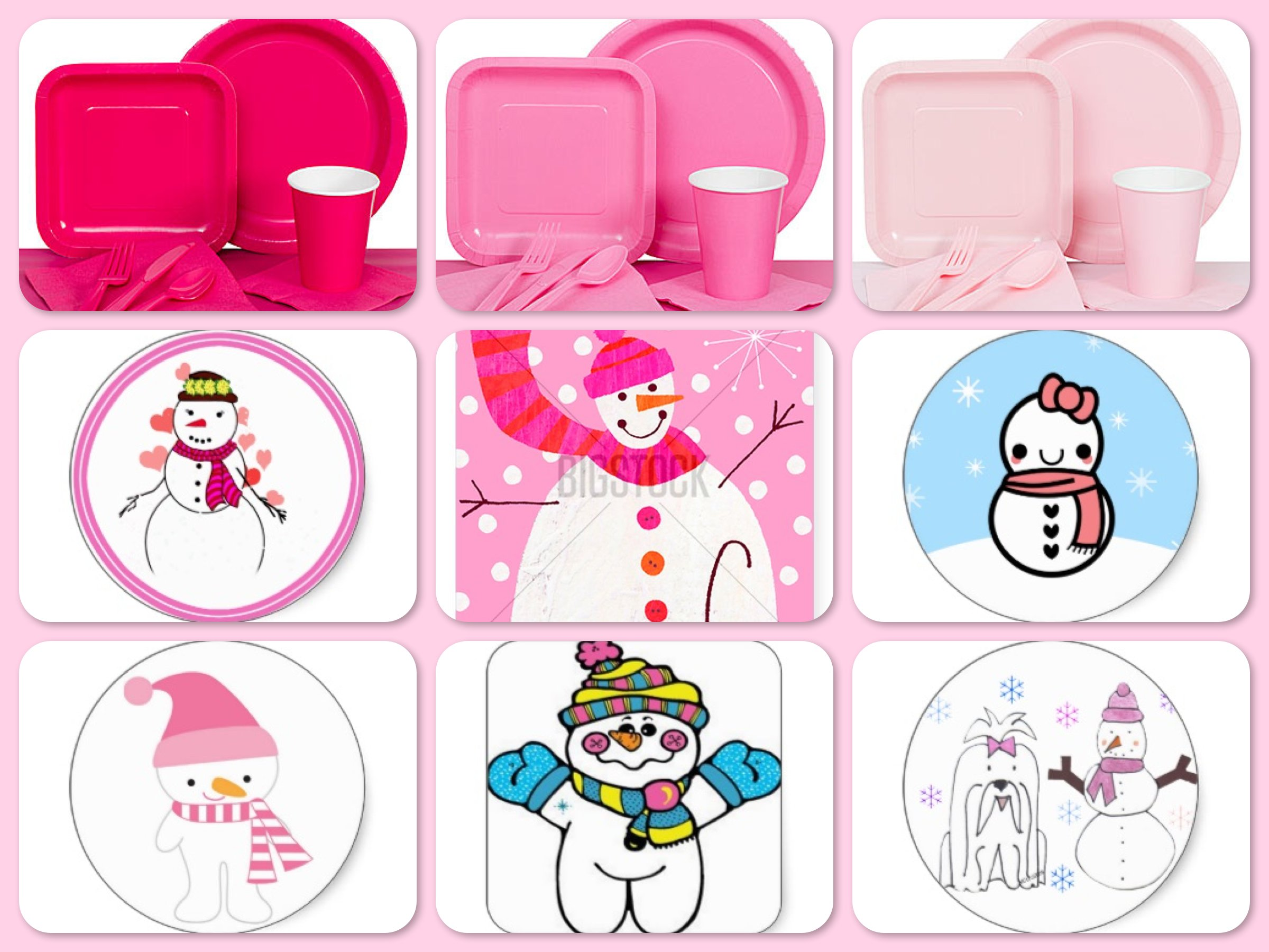 Girls Snowman Birthday Party Paper Goods