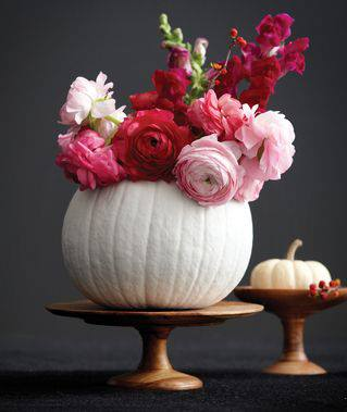 Chic Painted Pumpkin Vase with Flowers