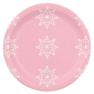 Pink Snowflake Holidays Paper Plates