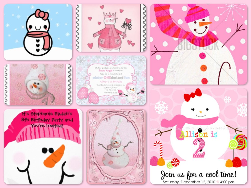 Pink Snowman Birthday Party Invitations & Stamps