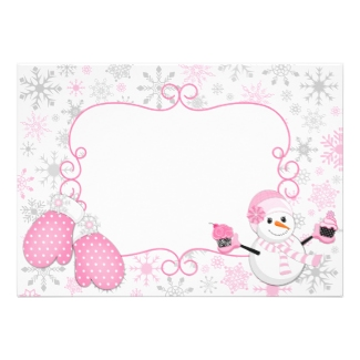 Pink snowman thank you notes