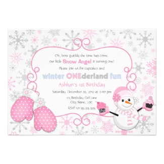Custom Winter One-derland 1st Birthday Invitation