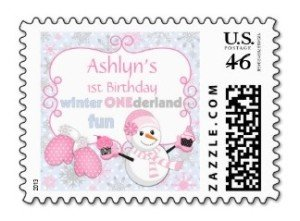 Winter One-derland 1st Birthday Postage Stamps