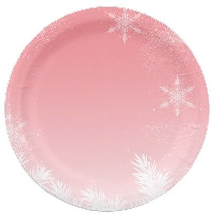 Pink Snowflake Paper Plates