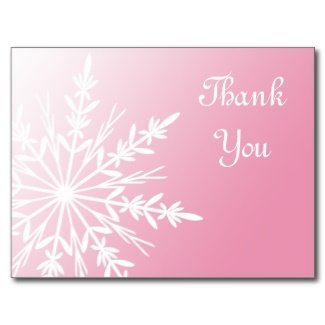 Pink Snowflake Thank You Postcard