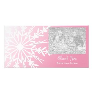Pink snowflaket hank you custom photo card