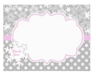 Pink WInter Onderland Wonderland Thank you Card
