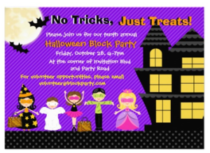 purple halloween invitation