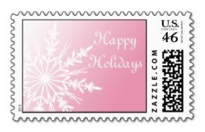 Snowflake on pink postage stamp