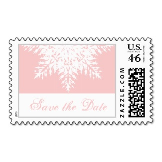 Snowflake pink save the date postage
