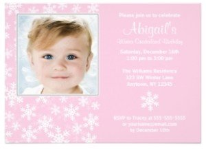 Snowflakes Winter Onederland Pink Photo Birthday Invite