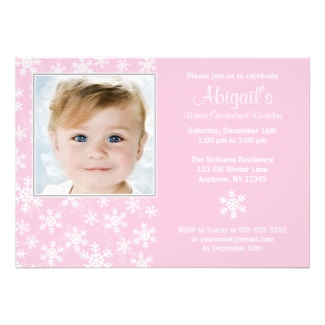 Snowflakes Winter Onederland Pink Photo Birthday Invite