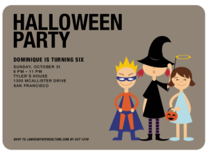 super hero witch and angel halloween invite