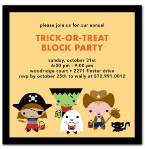 tiny trick or treaters invite