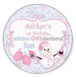 Winter One-derland First Birthday Snowman Mittens Stickers