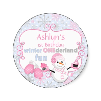 Winter One-derland First Birthday Snowman Mittens Stickers