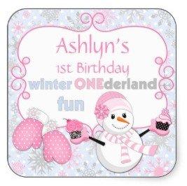 Winter One-derland First Birthday Snowman Mittens Square Sticker