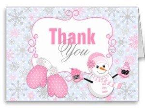 Winter wonderland snowman mittens thank you card