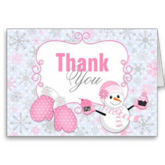 Winter wonderland snowman mittens thank you card