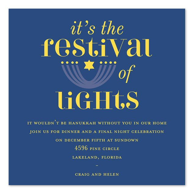 FESTIVAL OF LIGHTS Hanukkah Party Invitation